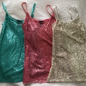 Babydoll sequin slip dress matching set of three